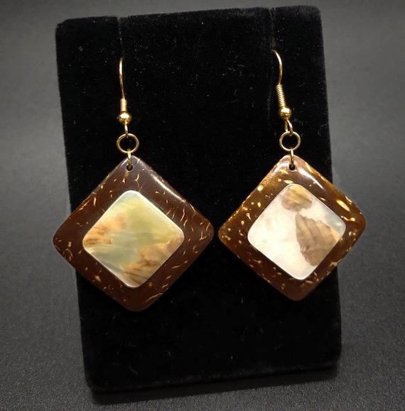E-1507 Coconut shell earrings