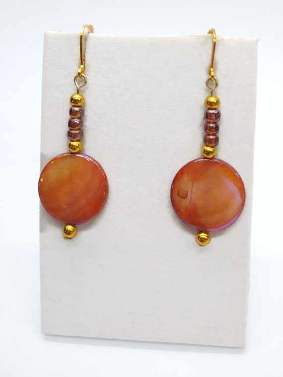 E-1679 Brown and Gold Drop Earrings