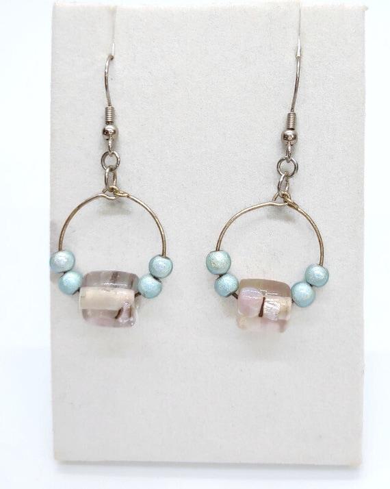 E-1538 Blue, clear, and purple Earrings