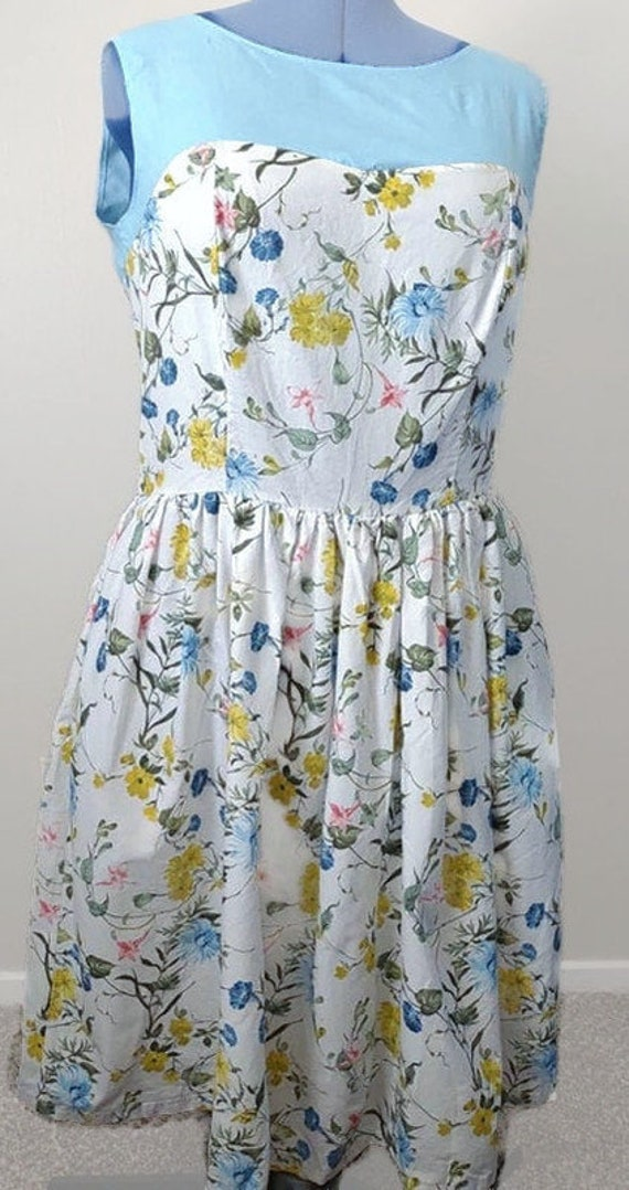 D-4105 Plus sized Light blue and white floral dress