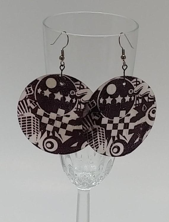 E-1537 Printed Shell Earrings