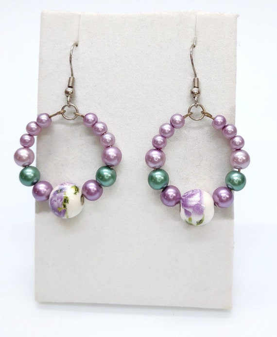 E-1541 Purple and Green Floral Earrings