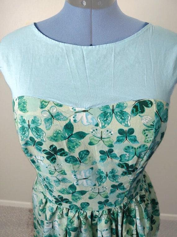 D-4108 Plus size teal butterfly dress