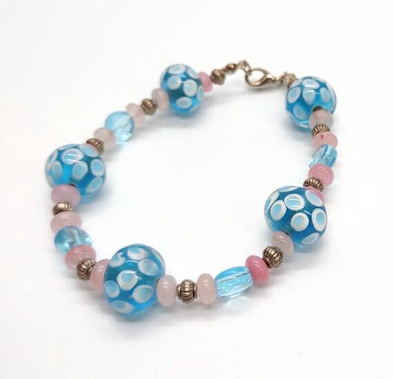 B-1642 Blue and pink bracelet.