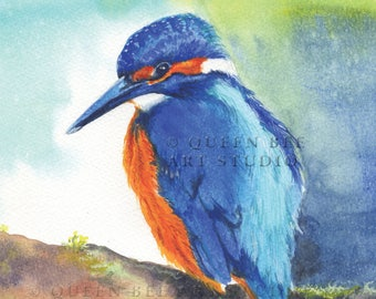 Kingfisher bird print, kingfisher watercolour, kingfisher painting, bird print, kingfisher art, birdwatcher gift, gift for him, gift for dad