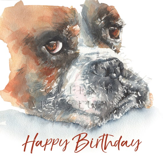 PERSONALISED BOXER DOG BIRTHDAY ANNIVERSARY ANY OCCASION CARD Illus Insert