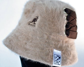 Tan   Brown Furgora Lahinch Kangol Casual Bucket customized with dark brown  fat lace. Hip hop hat 6ccc3113d49