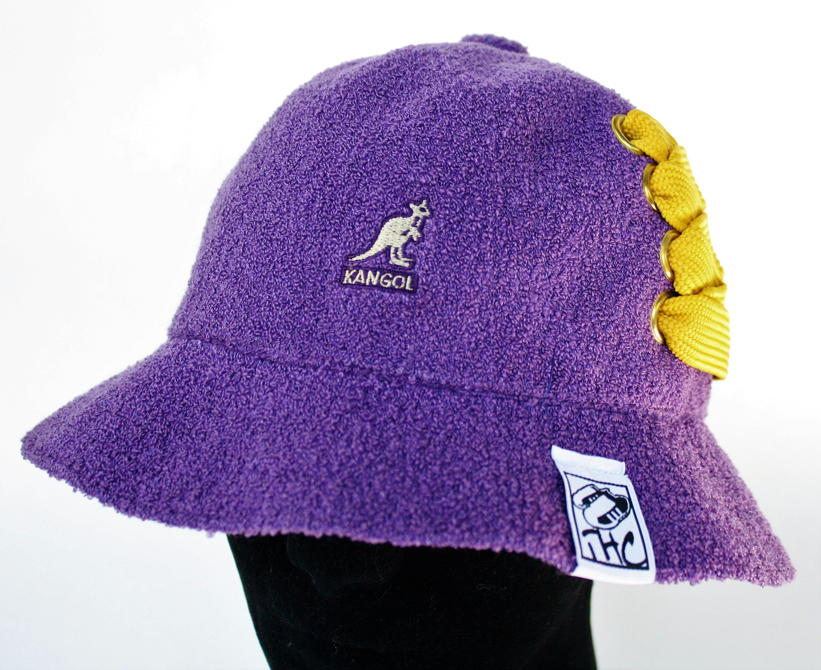 Purple Kangol Bermuda Casual Bucket customized with gold fat  086871a2e9e