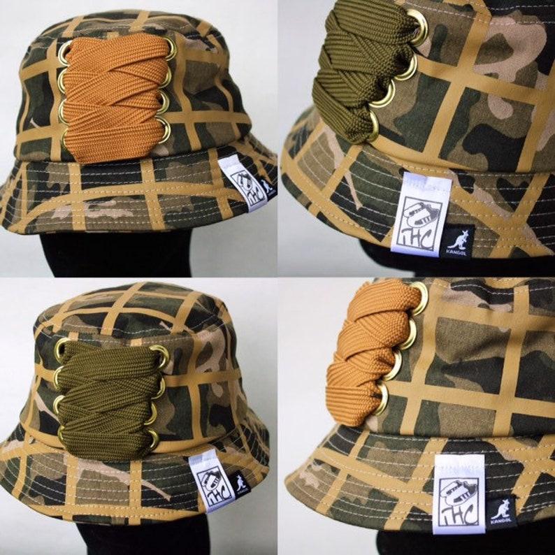 Kangol Camo Bucket customized with XL fat lace. Hip hop hat B  44bed4dea52