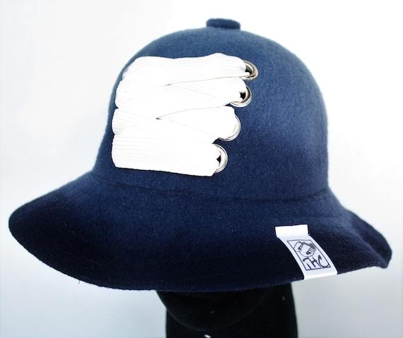 Navy blue Dip Dye Kangol wool customized with cream fat lace.  de896be665c
