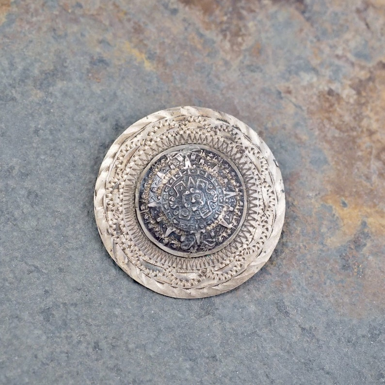 Mexican Handcrafted Sterling Silver Brooch Pin Pendant Mayan Aztec Calendar Taxco Mexico Pins, Brooches