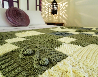 Chunk Cable Knit Patchwork Blanket