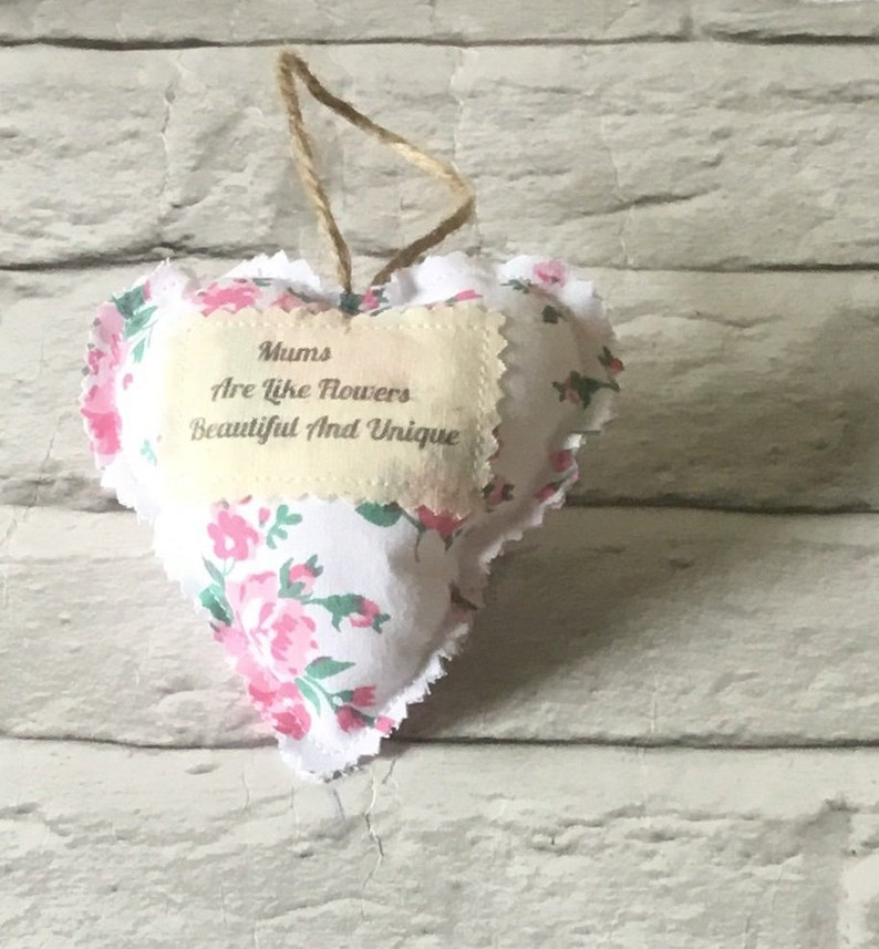Mums Are Like Flowers beautiful and unique hanging ornament Personalised Mother\u2019s Day gift fabric heart