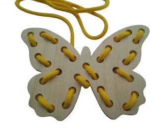 Wooden Butterfly toy , Wooden Lacing Toy, Organic Toy, Educational Toy, Butterfly Toy, Montessori Practical Toy, Sewing Toy, Learning Toy