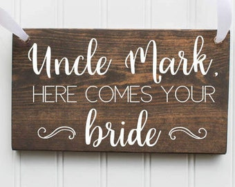Here Comes The Bride Wooden Sign  Ring Bearer Sign  Flower Girl  Rustic Wedding Decor  Wooden Wedding Decor  Spring Wedding  Summer Wedding