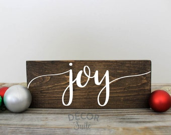 "Joy Christmas Sign| Christmas Wood Sign| Christmas Decor| Holiday Decor| Rustic Christmas| Farmhouse Christmas| 9"" x 3.5"""