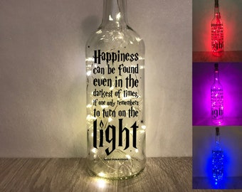 Harry P Bottle Light - Harry The Wizard - Harry Pottery Gifts - harry pottery decor - Bottle Light - Happiness Can Be Found  - Harry Pottery
