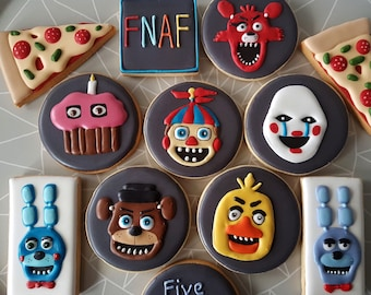 Five Nights at Freddy's themed cookies / 10 Iced cookies /  10 Personalised cookies /Five Nights at Freddy's party favours / Birthday /FNAF