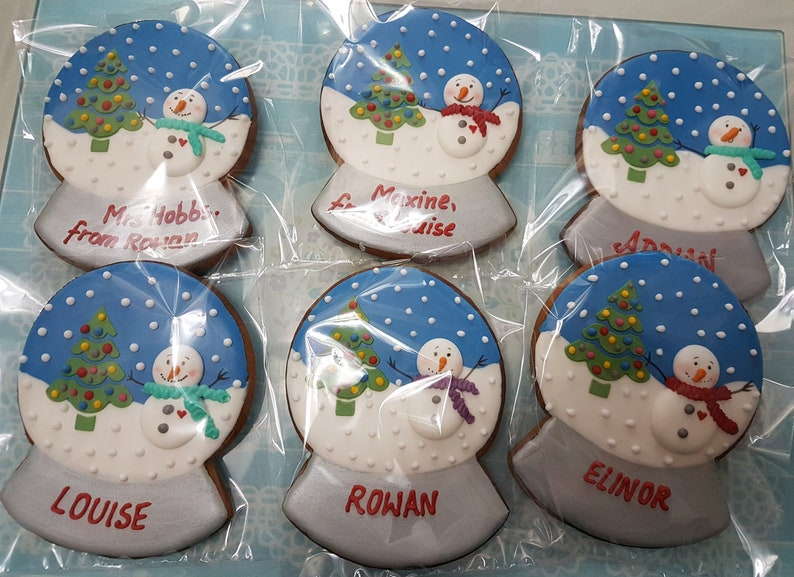 Christmas Gift One Snow Globe Cookies Biscuits Snow Globe Edible Christmas Cookies Edible Gift Snowman Christmastree