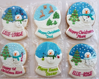 Christmas gift / One Snow Globe / Cookies / Biscuits / Snow Globe edible / Christmas cookie / Edible gift / Snowman / Christmastree
