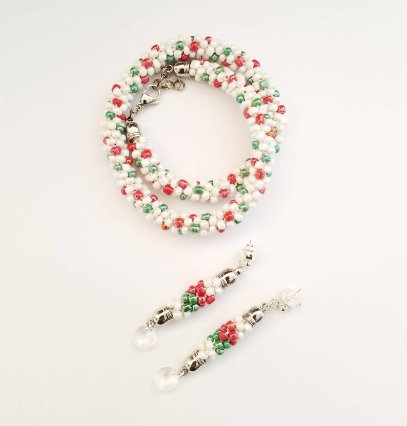 Fashion Glass Beads Necklace Set Beaded Rope Necklace Christmas Earrings Christmas Jewelry Gift Christmas Necklace and Earrings set