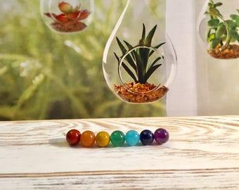 Chakra Beads, 7 Bead Set, Chakra Stones, 8mm Round, Healing Crystals, Rainbow Beads, Yoga Jewelry, Meditation Beads, Natural Gemstone Beads.