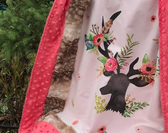 Floral Deer Blanket -  Boho Baby Girl - Baby Girl Gift - Deer Nursery - Faux Fur Blanket - Woodland Blanket - Stroller - Security - Car Seat