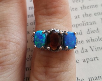 Opal Garnet Triple Gem Antique Vintage-Style Ring Sz 6