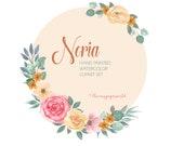 NORIA-SET Aquarell Blumen und Blätter ClipArt - Gelb, Rosa, Grün