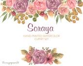 SORAYA-SET Aquarell Blumen und Blätter ClipArt - Rose, Lila, Grün, warme Erdtöne