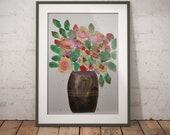 ORIGINAL Aquarellbild - Abstrakter Blumenstrauß - DinA4