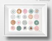 ORIGINAL Aquarellbild - Kreise mit Doodles- A4