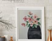 ORIGINAL Aquarellbild - Blumenstrauß in Vase - 21x27cm
