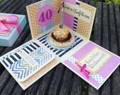 Geburtstags-Box runder Geburtstag - Geschenkbox - Geldgeschenk - Explosionsbox