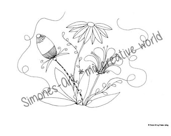 Flower Meadow 4 - Adult coloring page (A4)