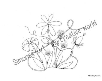 Flower Meadow 5 - Adult coloring page (A4)