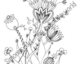 Flower Meadow 7 - Adult coloring page (A4)