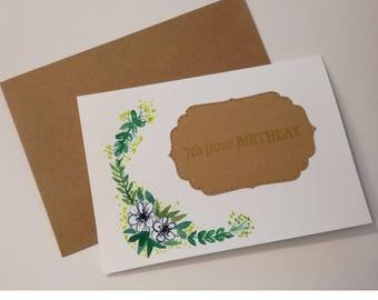 Grußkarte - Happy Birthday - Handbemalt (Aquarell)