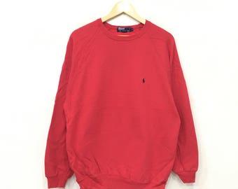Rare!! Vintage 90 s POLO Ralph Lauren Small Pony Sweatshirt Pullover Jumper Polo  stadium Ski Polo Sport MediumSize Red Colour cb845411f4