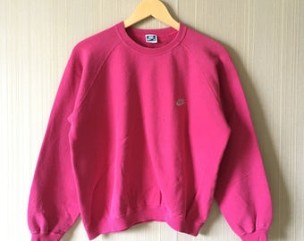 2f0af6c7a12150 Rare!! Vintage 80 s NIKE Blue Tag SWOOSH Embroidery Small Logo Sweatshirt  Sweater Hoodies Pullover Jumper Pink Colour Medium Size