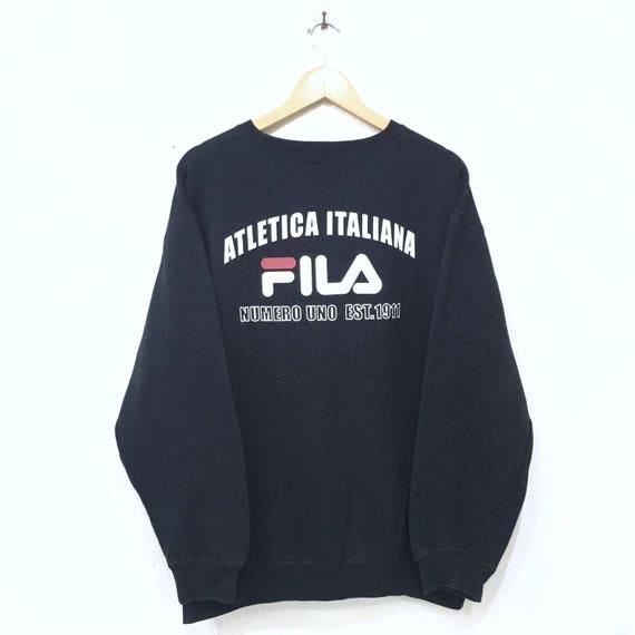 Rare!! FILA Atletica Italiana Spellout Biglogo Sweatshirt pullover Jumper Casual 90's Bella Italia Xlarge Size