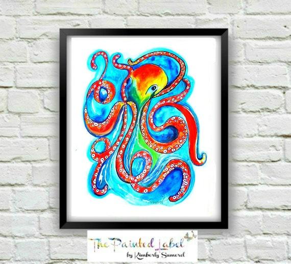 Octopus Print Coastal Painting Kids Room Decor Babyu0027s | Etsy
