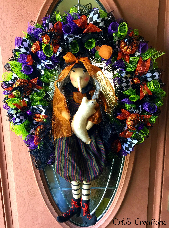 halloween wreath deco mesh wreath halloween deco mesh | etsy