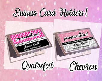 Chef business card etsy pampered chef business card holder chevron pampered chef business card holder quatrefoil business card colourmoves Images