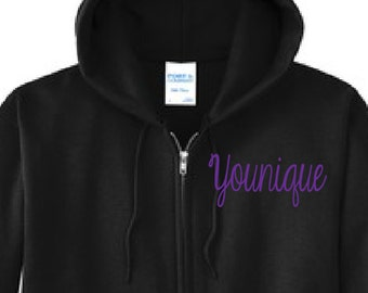 Embroidered Younique Zip Up Jacket, Younique Jacket, Younique