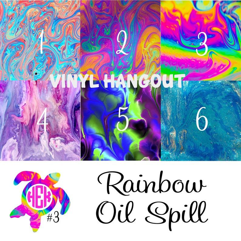 Printed Vinyl, Rainbow Oil Spill, Pattern Vinyl, Heat Transfer Vinyl,  Adhesive Outdoor Vinyl, HTV Vinyl, Iron On, Design Vinyl, Vinyl Sheets