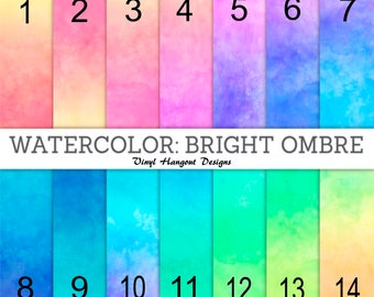 Pattern Vinyl, Watercolor Bright Ombre, HTV, Adhesive Outdoor Vinyl, Printed Vinyl, Heat Transfer Vinyl, Water Color, Ombre, Iron On Vinyl