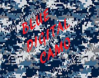 Printed Vinyl, Blue Digital Camo, Pattern Vinyl, Adhesive Outdoor 651 Vinyl, HTV,  Heat Transfer Vinyl, Iron On Vinyl, Design Vinyl