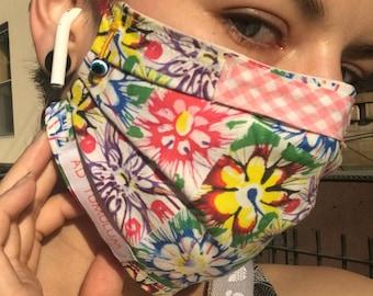 MOLLIE FLOWERS Handmade Wearable Art Face Mask Reusable 100% Cotton 3-layer Cover Hospital-Grade Filter & Nose Clip