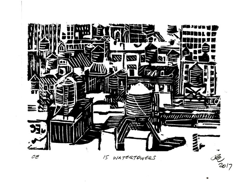 15 Watertowers linocut releif print image 0